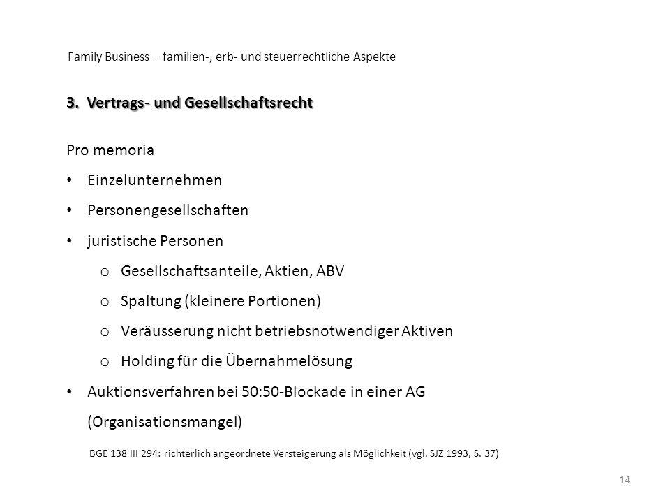 3. Vertrags- und Gesellschaftsrecht Pro memoria Einzelunternehmen