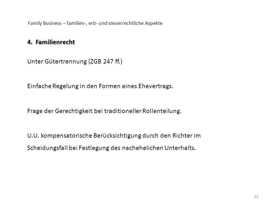 Unter Gütertrennung (ZGB 247 ff.)