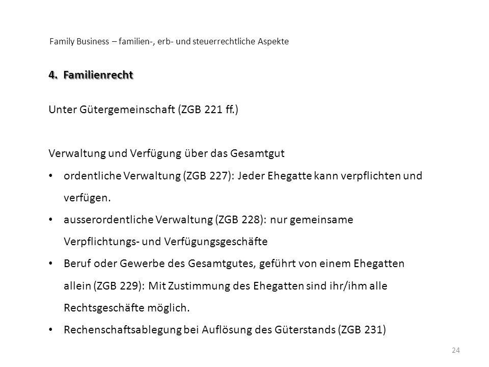 Unter Gütergemeinschaft (ZGB 221 ff.)