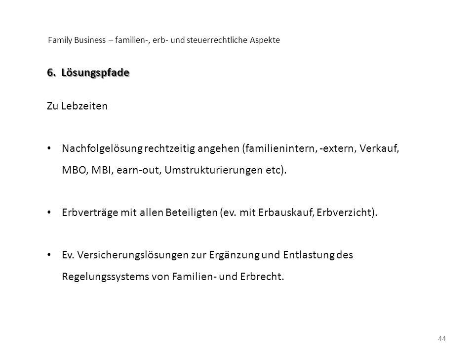 Erbverträge mit allen Beteiligten (ev. mit Erbauskauf, Erbverzicht).