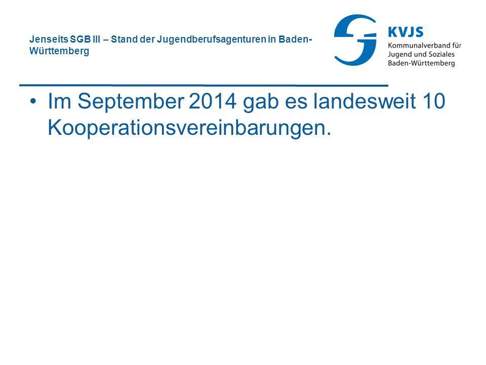 Im September 2014 gab es landesweit 10 Kooperationsvereinbarungen.