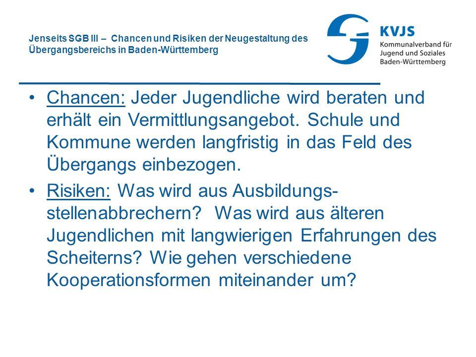 Jenseits SGB III – Chancen und Risiken der Neugestaltung des Übergangsbereichs in Baden-Württemberg
