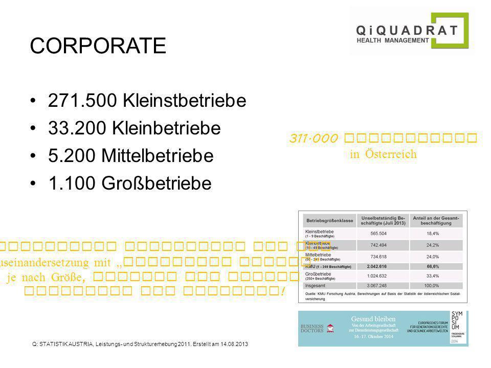 CORPORATE 271.500 Kleinstbetriebe 33.200 Kleinbetriebe