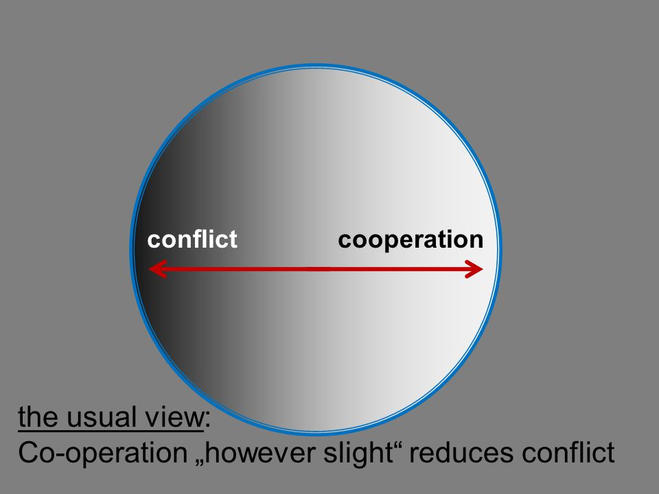 "Co-operation ""however slight reduces conflict"