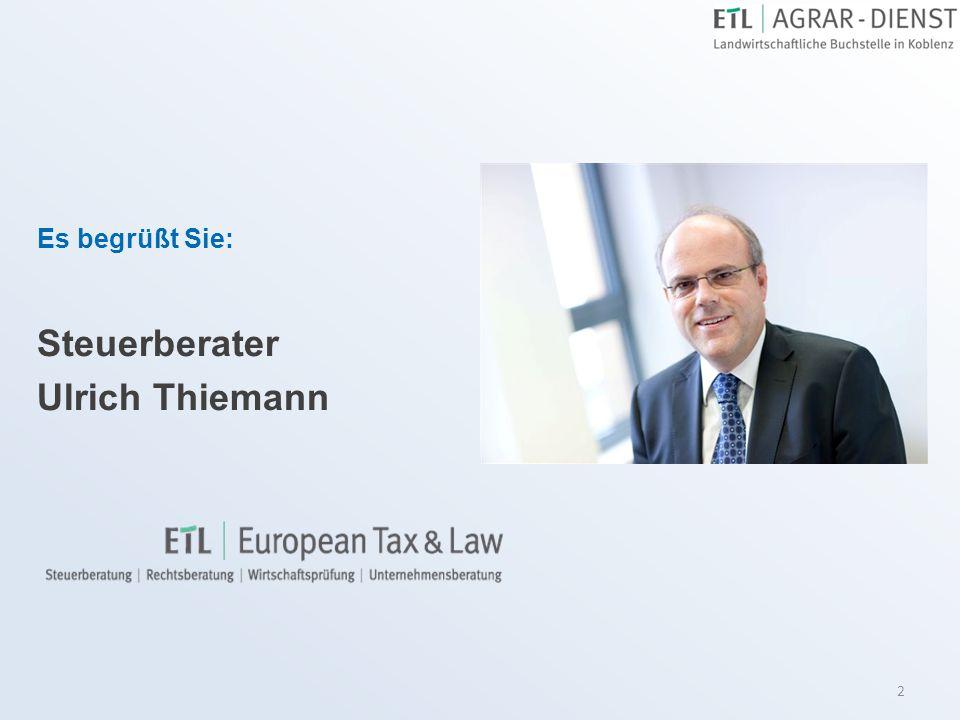 Es begrüßt Sie: Steuerberater Ulrich Thiemann