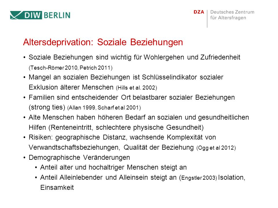 Altersdeprivation: Soziale Beziehungen