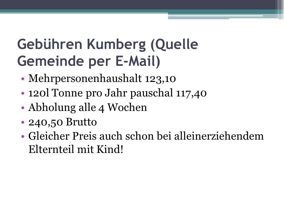 Gebühren Kumberg (Quelle Gemeinde per E-Mail)
