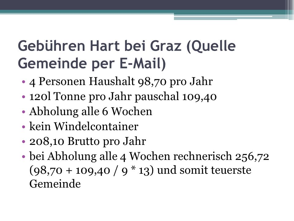 Gebühren Hart bei Graz (Quelle Gemeinde per E-Mail)