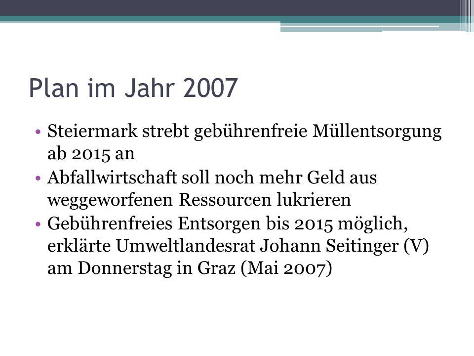 Plan im Jahr 2007 Steiermark strebt gebührenfreie Müllentsorgung ab 2015 an.