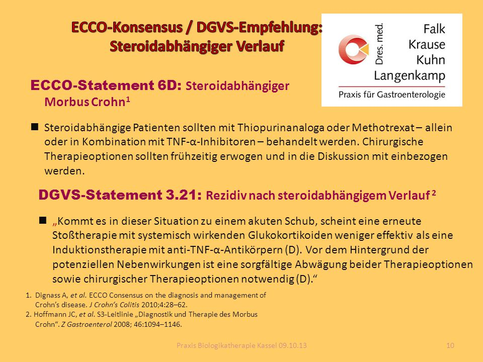 ECCO-Konsensus / DGVS-Empfehlung: Steroidabhängiger Verlauf
