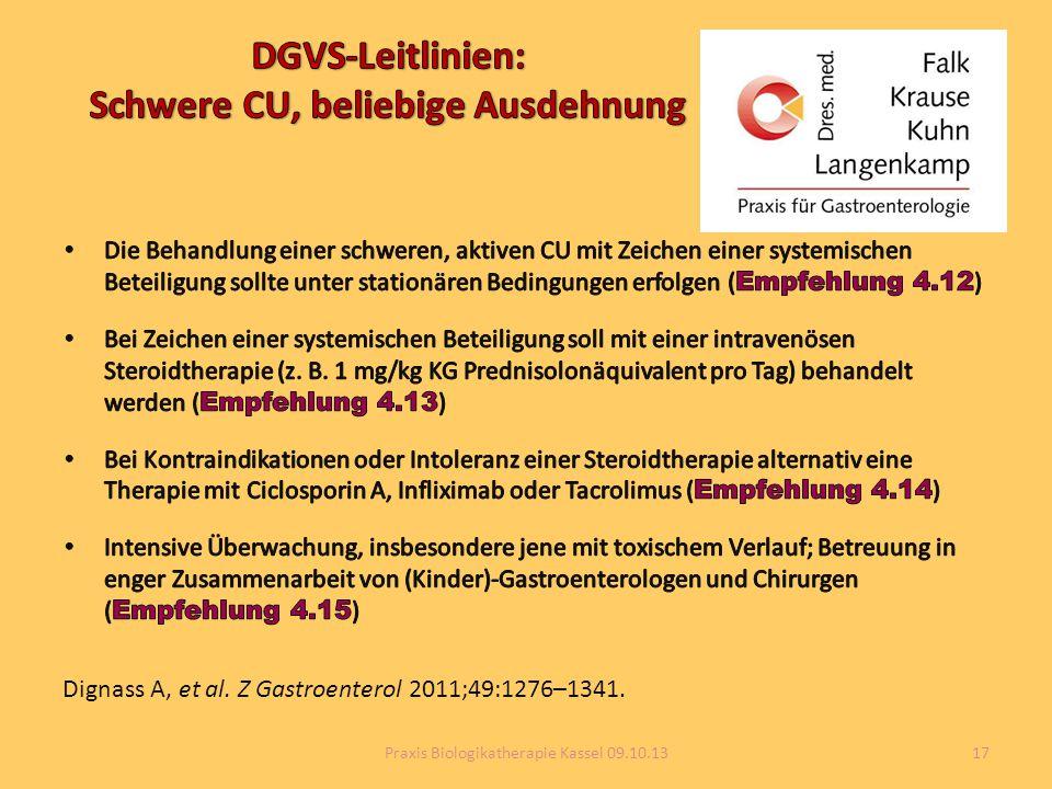 DGVS-Leitlinien: Schwere CU, beliebige Ausdehnung
