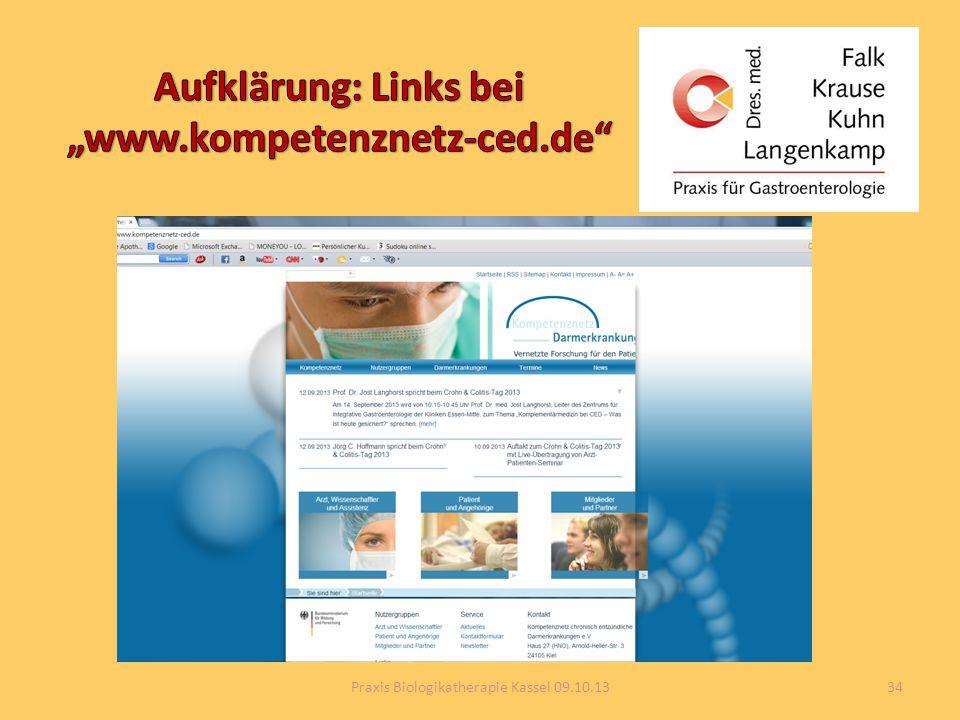 """Aufklärung: Links bei """"www.kompetenznetz-ced.de"""