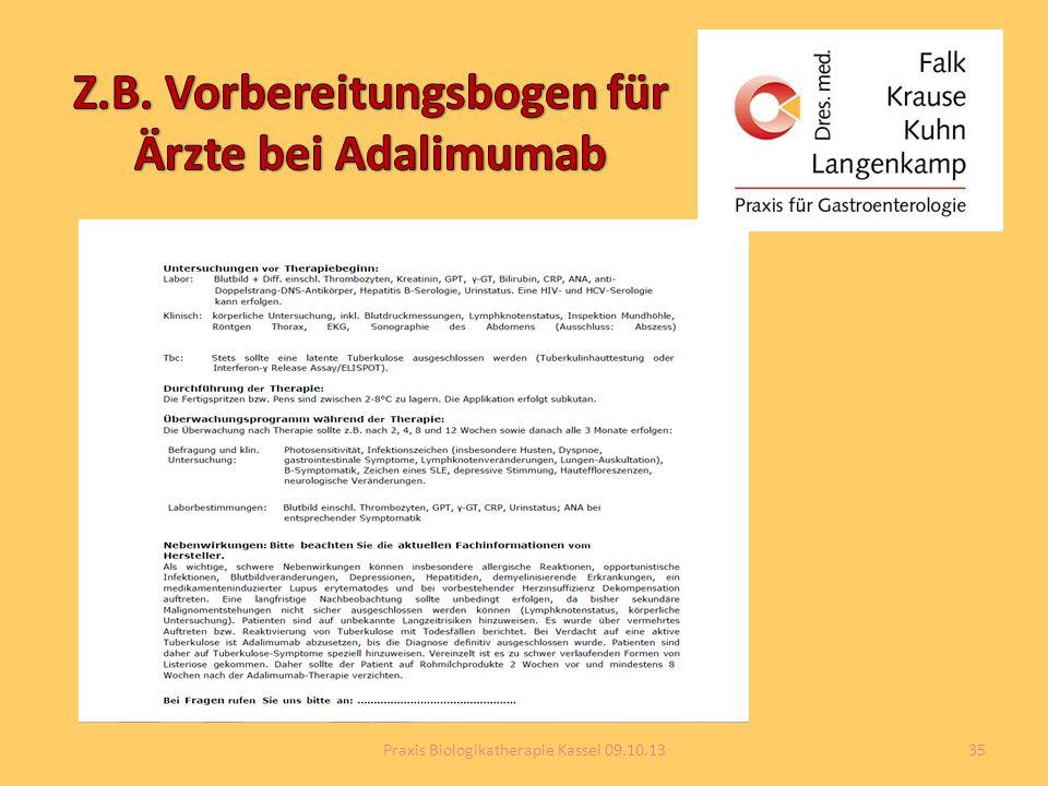 Z.B. Vorbereitungsbogen für Ärzte bei Adalimumab