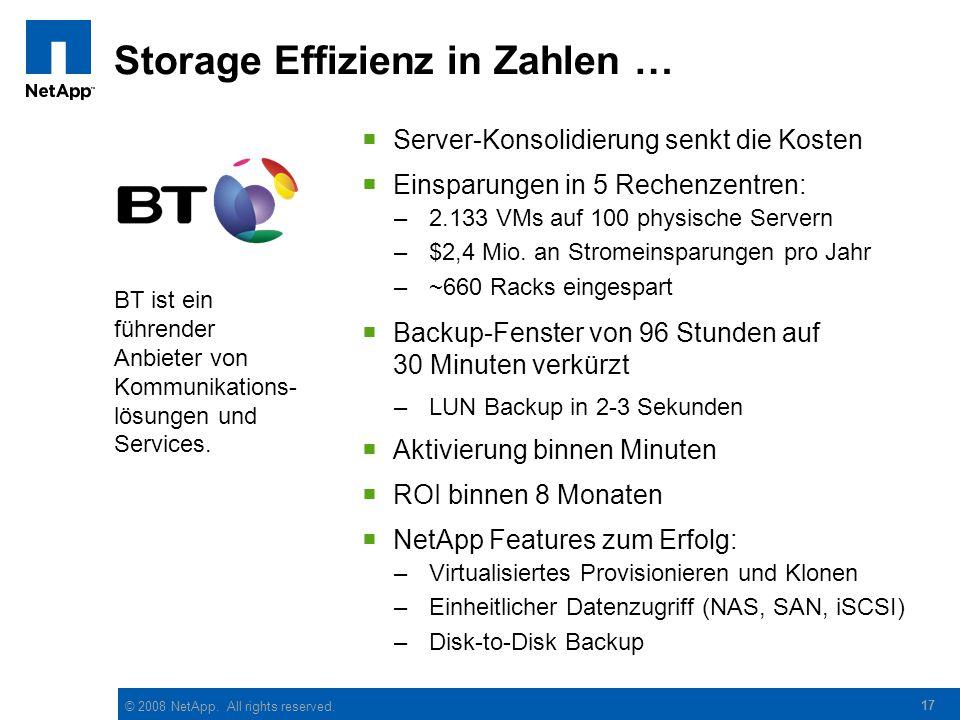 Storage Effizienz in Zahlen …