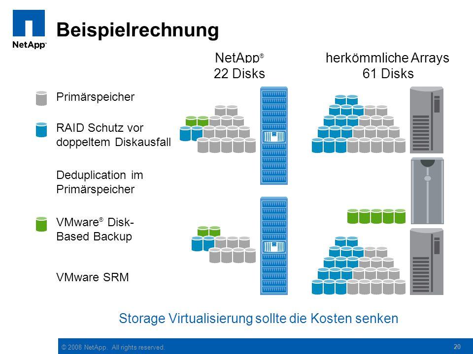 Beispielrechnung NetApp® herkömmliche Arrays 16 Disks 28 Disks 9 Disks