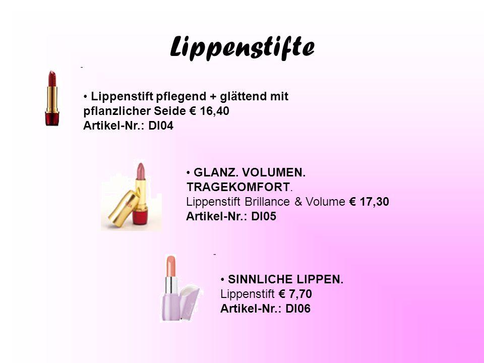 Lippenstifte Lippenstift pflegend + glättend mit pflanzlicher Seide € 16,40 Artikel-Nr.: Dl04.
