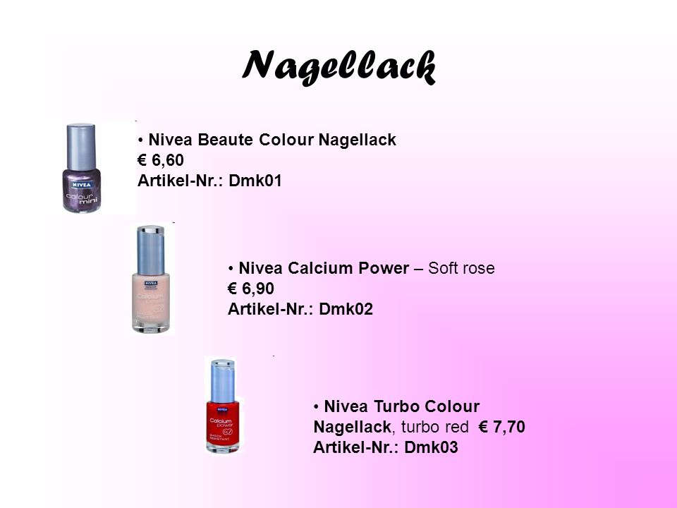 Nagellack Nivea Beaute Colour Nagellack € 6,60 Artikel-Nr.: Dmk01