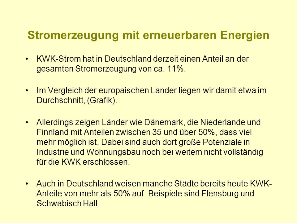 Stromerzeugung mit erneuerbaren Energien