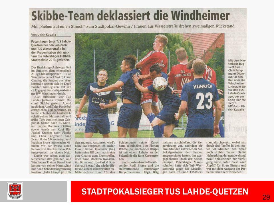 Stadtpokalsieger TuS Lahde-Quetzen