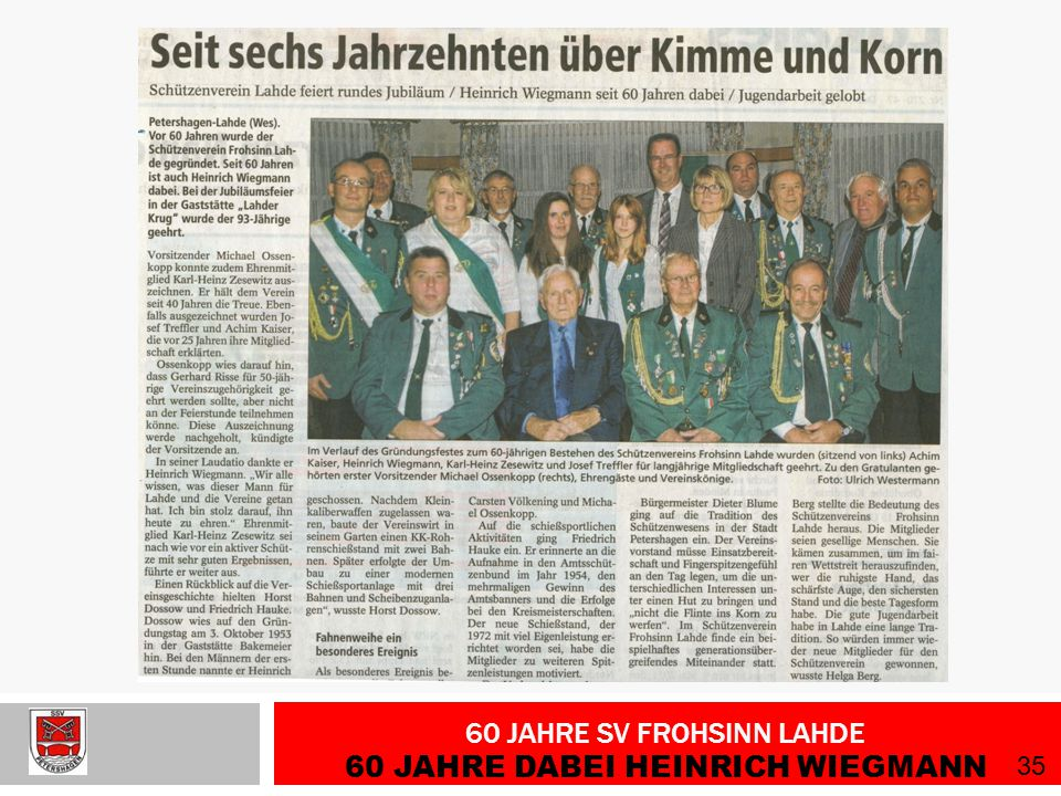 60 Jahre SV Frohsinn Lahde 60 Jahre dabei Heinrich Wiegmann