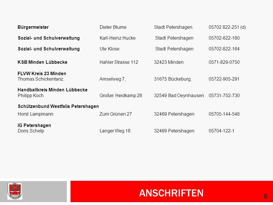 Bürgermeister Dieter Blume Stadt Petershagen 05702 822-251 (d)