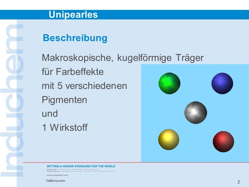 Beschreibung Makroskopische, kugelförmige Träger. für Farbeffekte. mit 5 verschiedenen. Pigmenten.