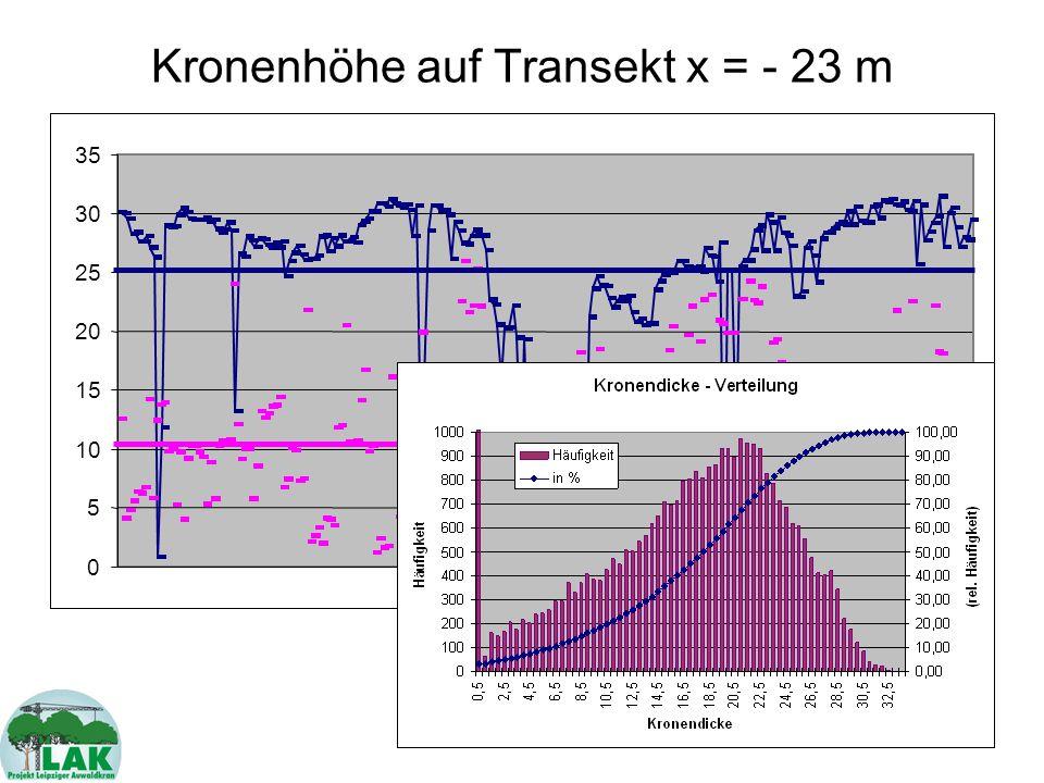 Kronenhöhe auf Transekt x = - 23 m
