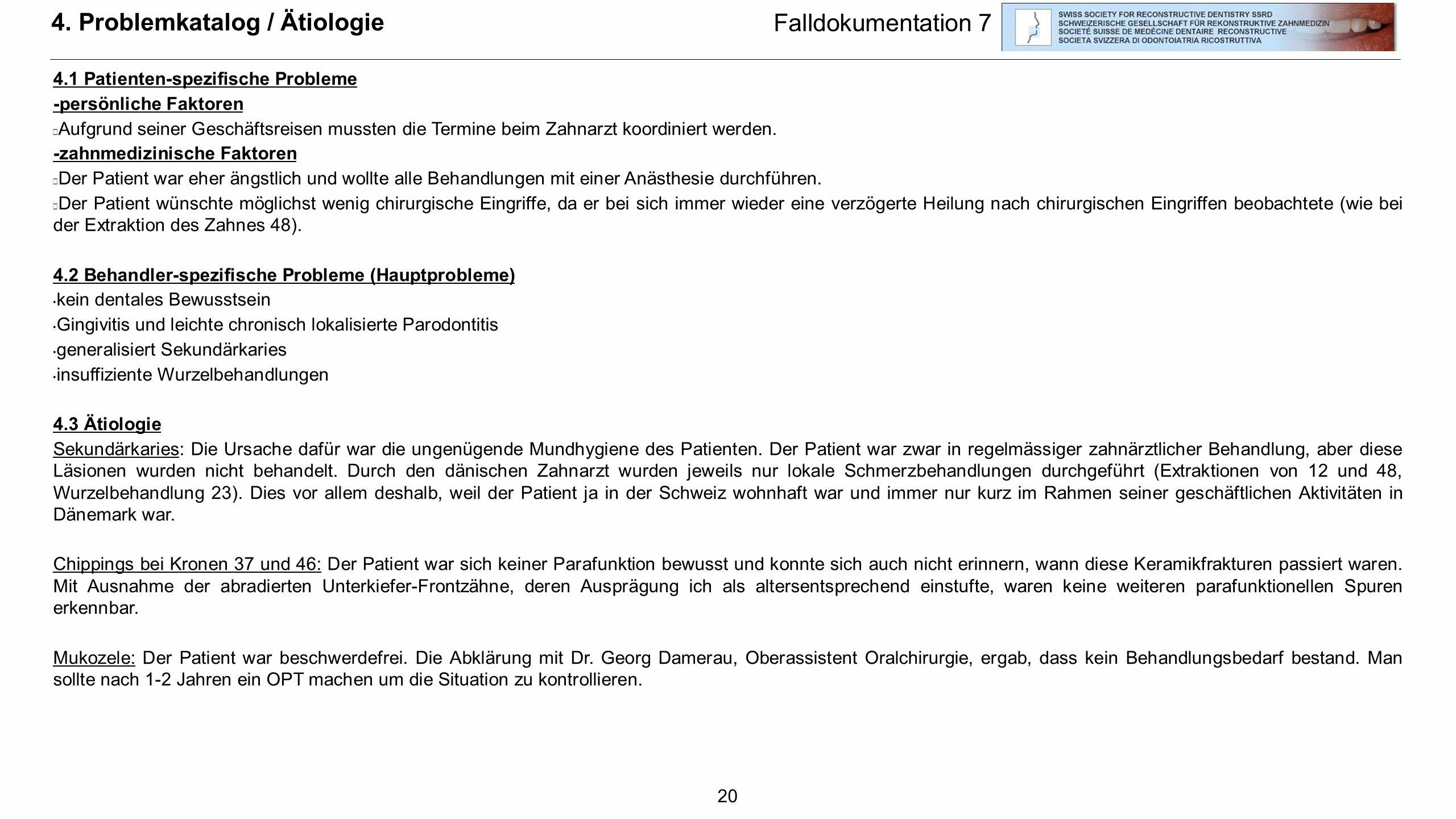 4. Problemkatalog / Ätiologie Falldokumentation 7
