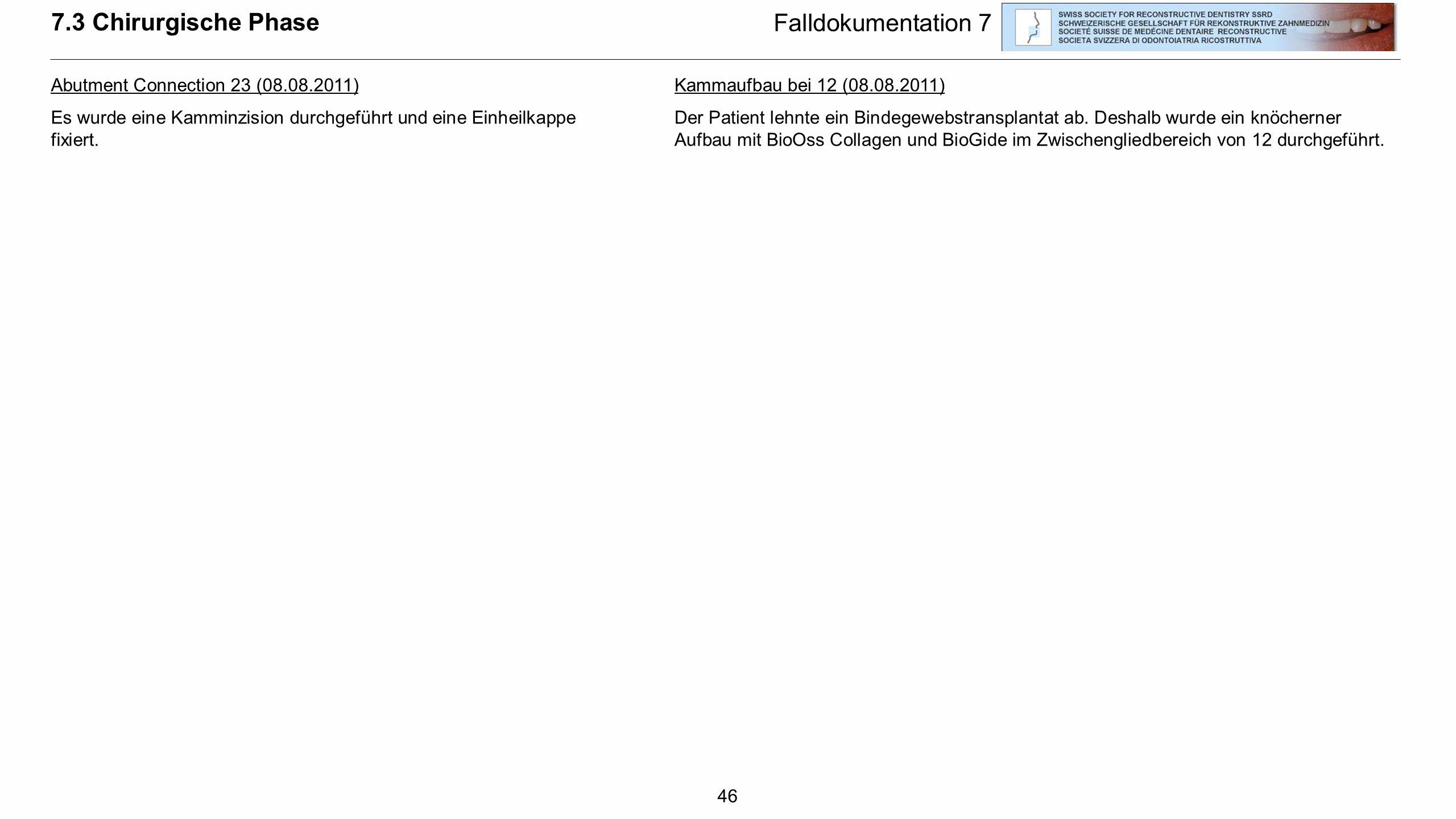 7.3 Chirurgische Phase Falldokumentation 7