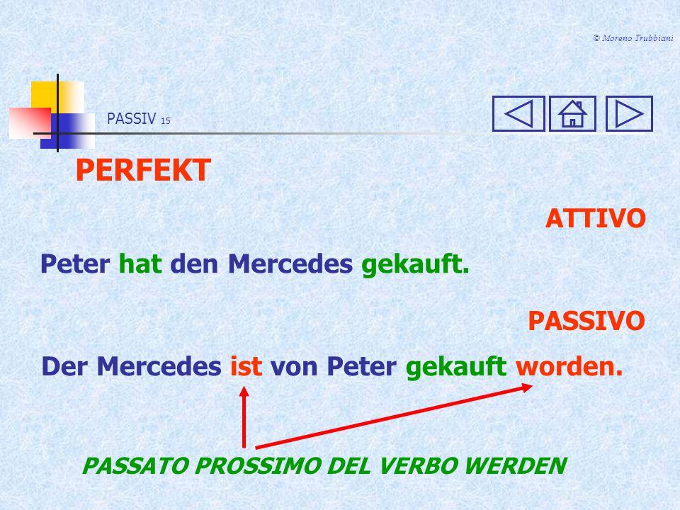 PERFEKT ATTIVO Peter hat den Mercedes gekauft. PASSIVO