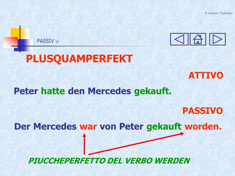 PLUSQUAMPERFEKT ATTIVO Peter hatte den Mercedes gekauft. PASSIVO
