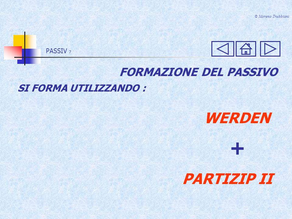 + WERDEN PARTIZIP II FORMAZIONE DEL PASSIVO SI FORMA UTILIZZANDO :