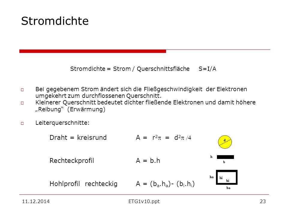 Stromdichte = Strom / Querschnittsfläche S=I/A