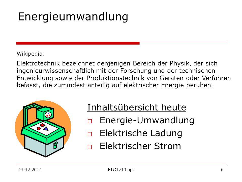 Energieumwandlung Inhaltsübersicht heute Energie-Umwandlung