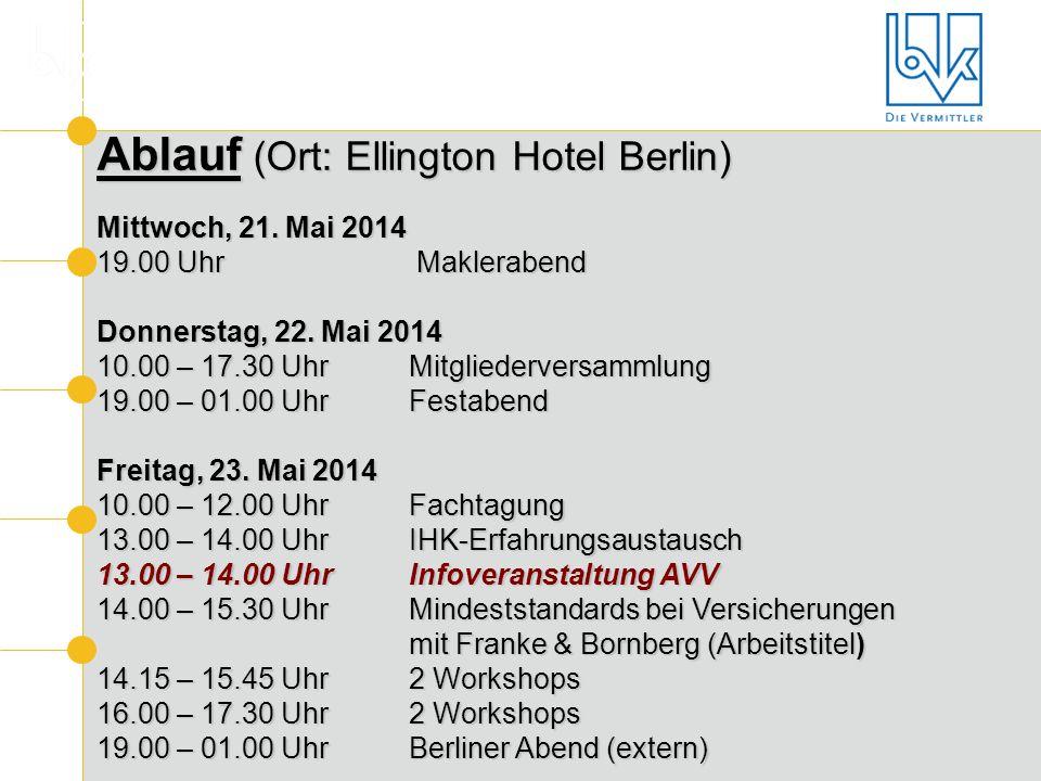 Ablauf (Ort: Ellington Hotel Berlin)