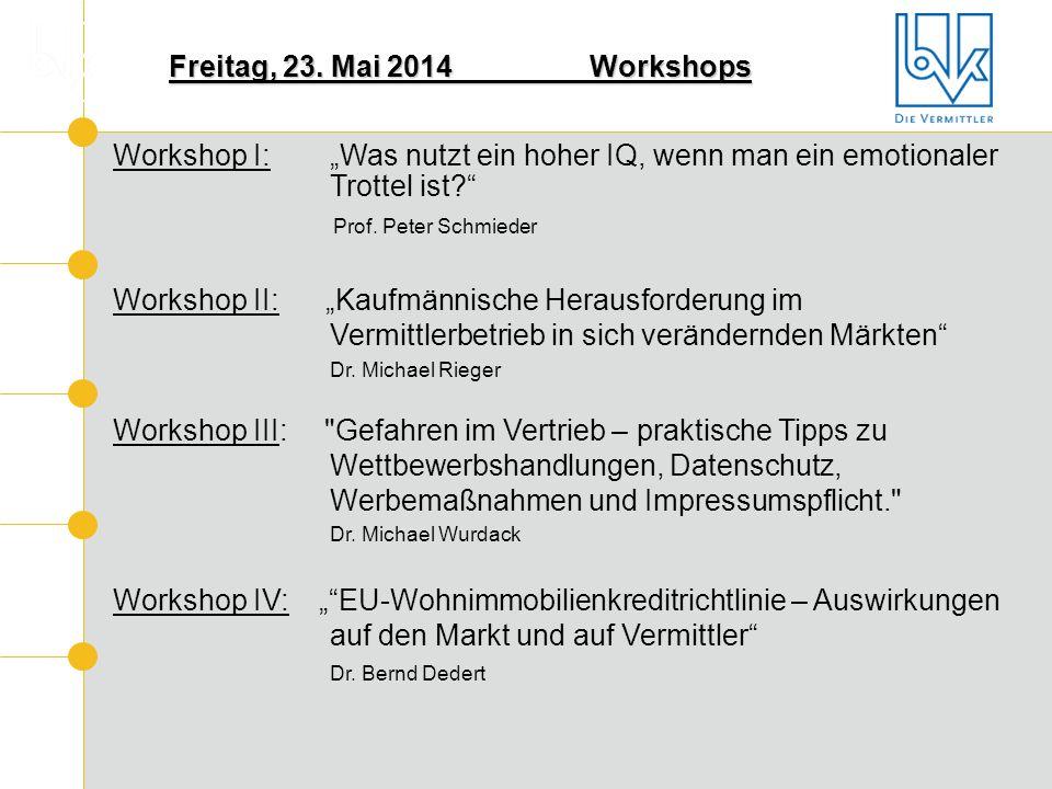 """Freitag, 23. Mai 2014 Workshops Workshop I: """"Was nutzt ein hoher IQ, wenn man ein emotionaler Trottel ist"""