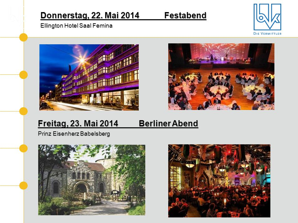Donnerstag, 22. Mai 2014 Festabend Ellington Hotel Saal Femina