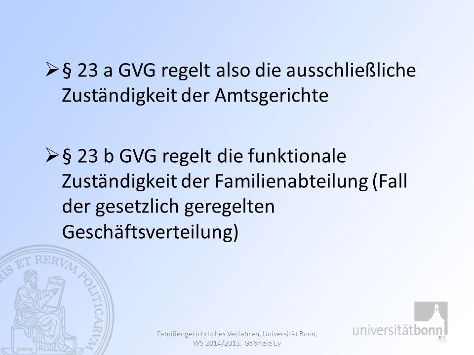 § 23 a GVG regelt also die ausschließliche Zuständigkeit der Amtsgerichte