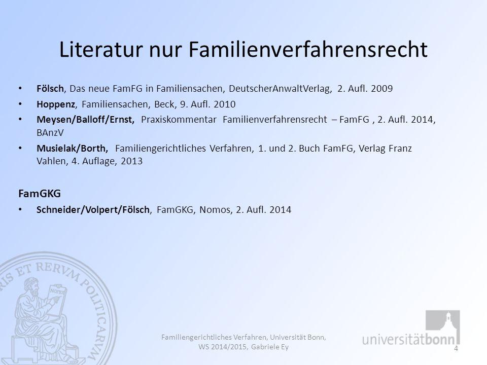 Literatur nur Familienverfahrensrecht