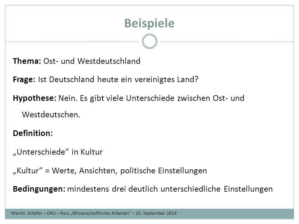 Beispiele Thema: Ost- und Westdeutschland