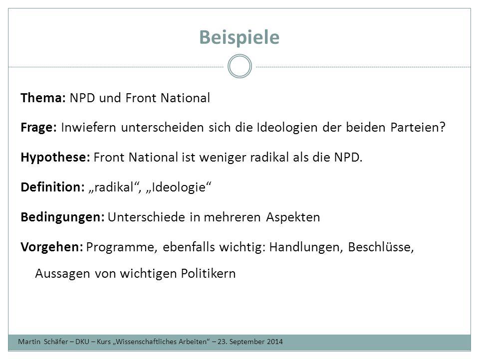 Beispiele Thema: NPD und Front National