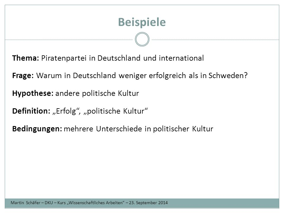 Beispiele Thema: Piratenpartei in Deutschland und international