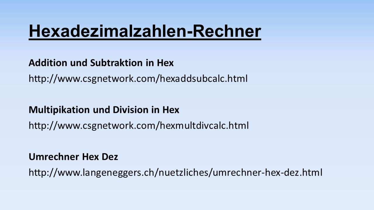 Hexadezimalzahlen-Rechner