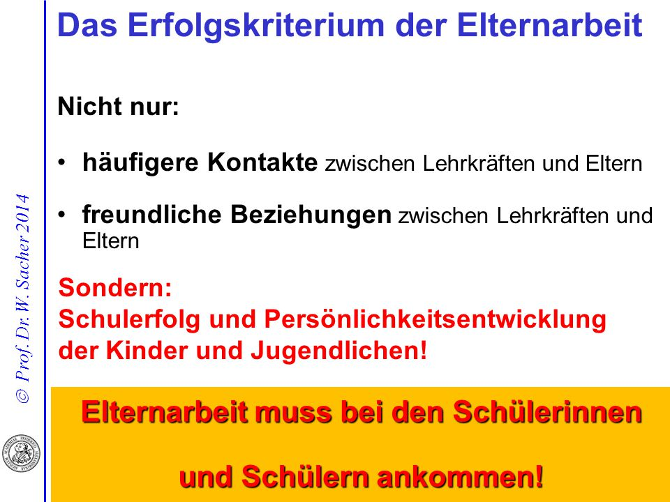 Das Erfolgskriterium der Elternarbeit