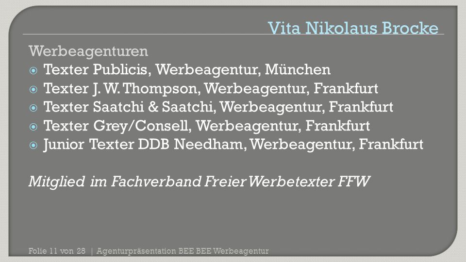 Vita Nikolaus Brocke Werbeagenturen