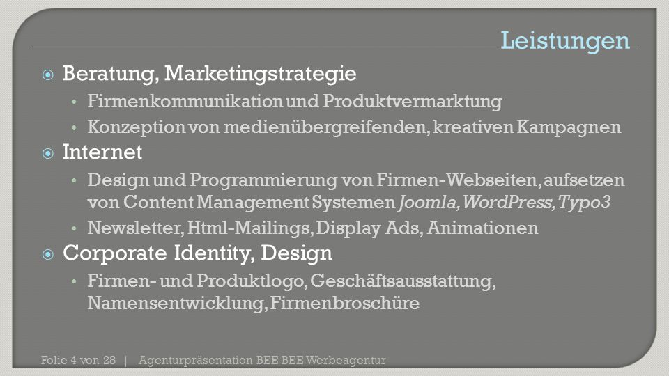 Leistungen Beratung, Marketingstrategie Internet