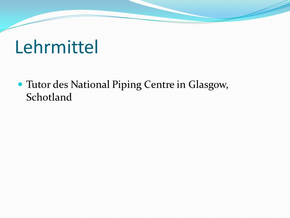 Lehrmittel Tutor des National Piping Centre in Glasgow, Schotland