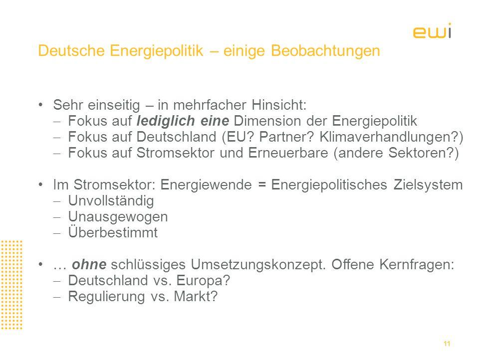 Deutsche Energiepolitik – einige Beobachtungen