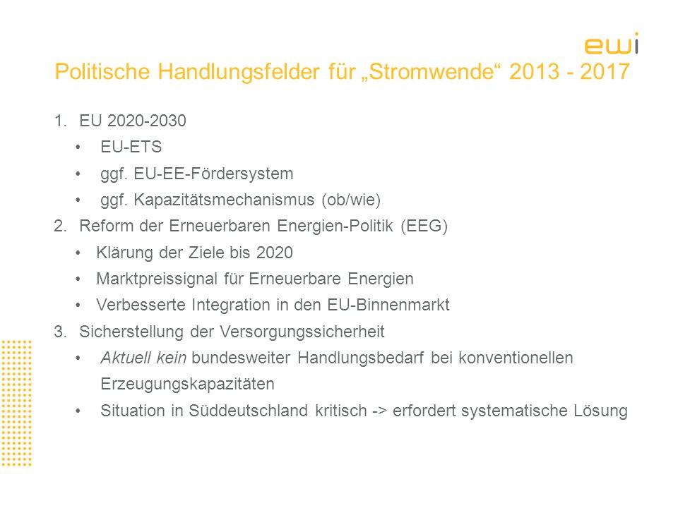 """Politische Handlungsfelder für """"Stromwende 2013 - 2017"""