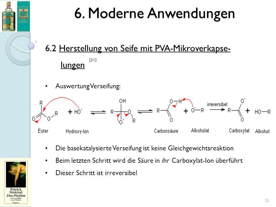 6. Moderne Anwendungen 6.2 Herstellung von Seife mit PVA-Mikroverkapse- lungen. Auswertung Verseifung: